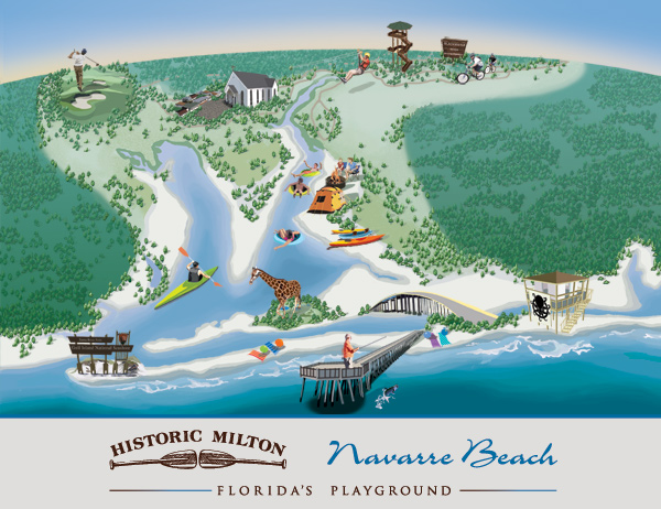 Navarre Beach Map - Andrea Tripke Illustration