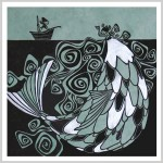 "relief print limited edition 1/100, size 16.5x16"", manually colored in with silver acrylics"